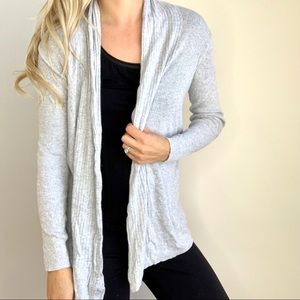 Grey Open Front Cardigan Sweater Long Sleeves XS